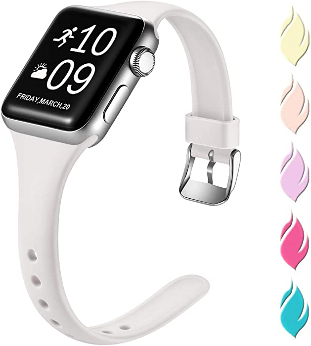Henva Slim Band Compatible with Apple Watch SE 40mm 38mm, Soft Comfortable Band Compatible for iWatch Series 6 5 4 3 2 1, White, S/M