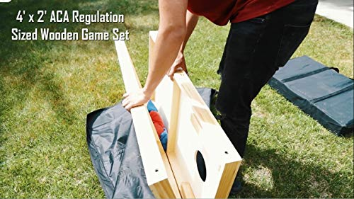 ZENY Portable Solid Wood Cornhole Bean Bag Toss Game Set Regulation Size 4ft x 2ft Cornhole Boards & 8 Bags Playset Backyard Lawn Corn Hole Outdoor Game Set