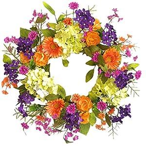 Wreaths For Door Summer Fling Door Wreath Year Round Indoor Outdoor Use Spring Summer Into Fall Cheerful Colors Orange Purple Pink Green Hydrangeas Daisies 22 Inch Mothers Day 17