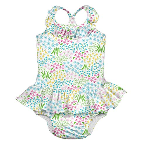 i play. Baby Girls 1pc Ruffle Swimsuit with Built-in Reusable Absorbent Swim Diaper, White Flower Patch, 18mo