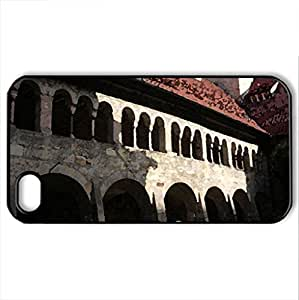 Old Cloister - Case Cover for iPhone 4 and 4s (Religious Series, Watercolor style, Black)