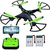 Cheap Drones with Camera – Sopow 720p HD FPV Camera Live Video 2.4GHz 6-Axis Gyro Quadcopter Drone Support Cellphone ipad for Beginners and Adults ( Green )