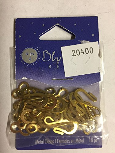 Blue Moon Resin Beads - Blue Moon Hook & Eye Clasps, Package of 18, Gold