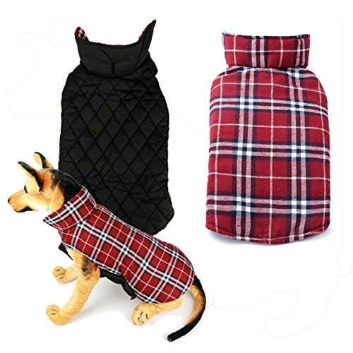 INHAND Water Resistent Windproof Reversible Plaid Dog Vest for Cold Weather ,Winter Coat Warm Dog Apparel for Small Medium Large dogs