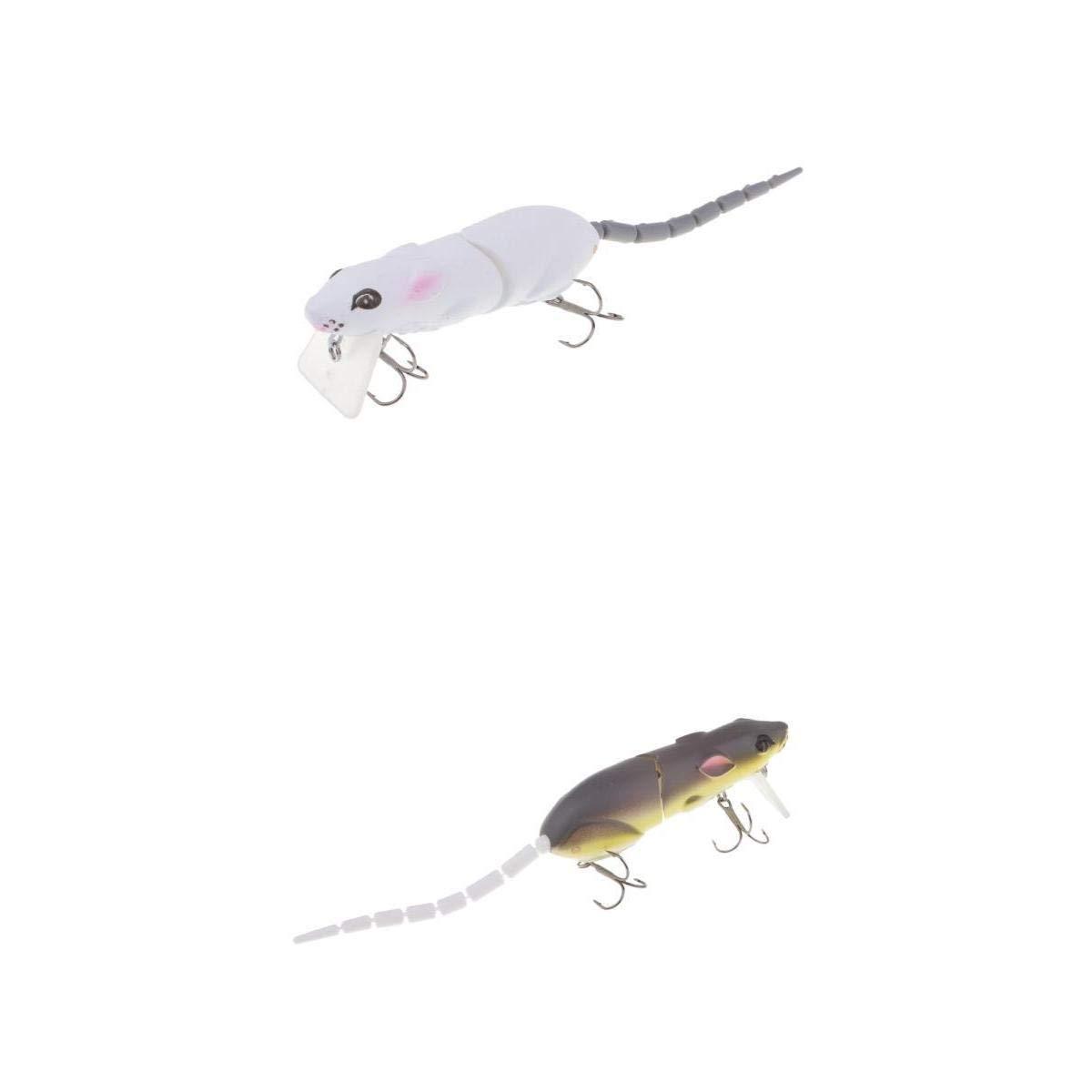 NON Sharplace 2Pcs Se/ñuelos Multi-Joint Tail Rata Ratas Pesca Aguas Profundas Cebos Bajos Suaves