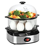 Food Steamer, IFLYING Double Tier Electric Multi Function Mini Egg Cooker With Poacher and Steamer Attachments