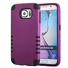Galaxy S6 Case, Pandawell™ 3-piece 3 in 1 Combo Hybrid Defender High Impact Body Armor Hard PC & Silicone Rubber Case Protective Cover for Samsung Galaxy S6 G920 with Screen Protector & Stylus (3 piece-Purple/Black)