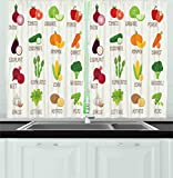 tomato design - Ambesonne Kitchen Decor Collection, Vegetables Pattern Retro Design Pumpkin Tomato Cabbage Pepper Patato Cafe Home Decor, Window Treatments for Kitchen Curtains 2 Panels, 55X39 Inches, White Green Red