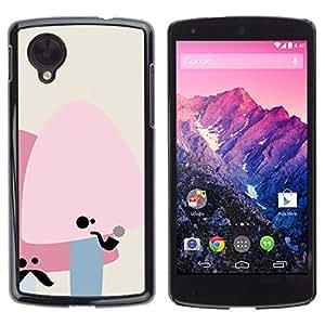 GIFT CHOICE / SmartPhone Carcasa Teléfono móvil Funda de protección Duro Caso Case para LG Nexus 5 D820 D821 /Cute Moustache Mushrooms/