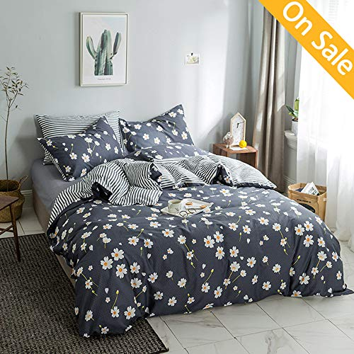 - 【Newest Arrival】Floral Flower Duvet Cover Set Twin Daisy Bedding Set Kids Duvet Cover Cotton Reversible 3 Pieces Stripes Comforter Cover Soft for Girls with 2 Pillow Shams,NO Comforter NO Sheet
