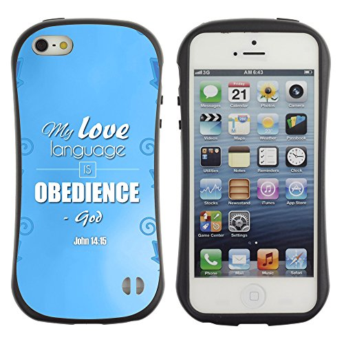 DREAMCASE Citation de Bible Silicone et Rigide Coque Protection Image Etui solide Housse T¨¦l¨¦phone Case Pour APPLE IPHONE 5 / 5S - MY LOVE LANGUAGE IS OBEDIENCE - JOHN 14:15