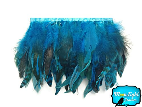 Rooster Feathers, 1 Yard - Turquoise Blue Chinchilla Rooster Saddle Feathers Trim