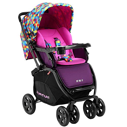 High Landscape Toddlers Prams from Birth Newborn Pushchairs Baby Strollers fold Two Way with Cup Holder and Meal Plate,c