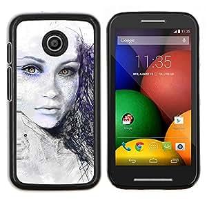 Caucho caso de Shell duro de la cubierta de accesorios de protección BY RAYDREAMMM - Motorola Moto E - Pintado Chica