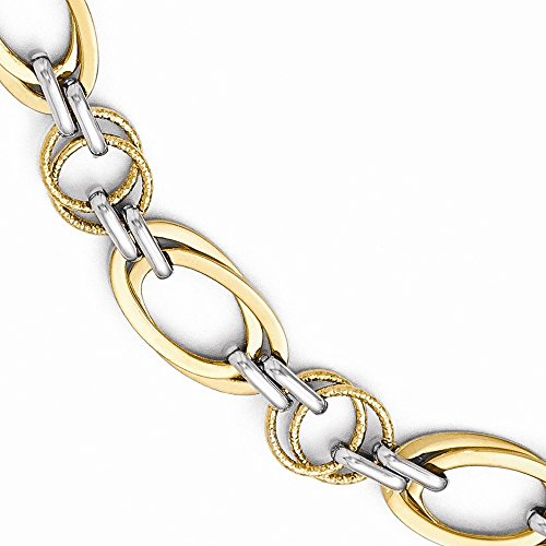 viStar Leslie's 14k Two-tone Polished and Textured Fancy Link Bracelet