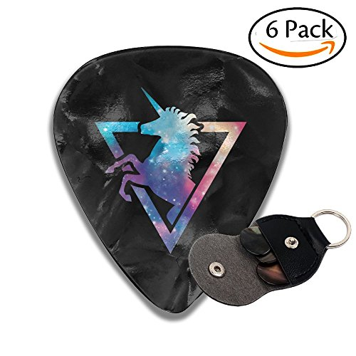 Galaxy Unicorn 6 Pack Colorful Celluloid Guitar Pick Holder Case