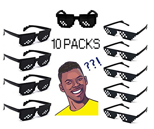 10 Pack 8 Bit Pixelated Party Sunglasses Thug Life Mosaic Gamer MLG Photo Props Glasses for Adults -