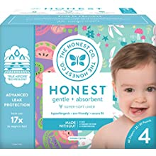 The Honest Company Club Box Diapers with TrueAbsorb Technology, Bunnies & Sliced Fruit, Size 4, 60 Count