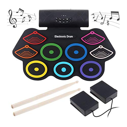 WTTO Portable Electronic Drum Set, 9 Pads Roll Up Drum Kit Built-in Speaker Headphone Jack 2 Foot Pedals Best Gift for Christmas Holiday Birthday,Colorful