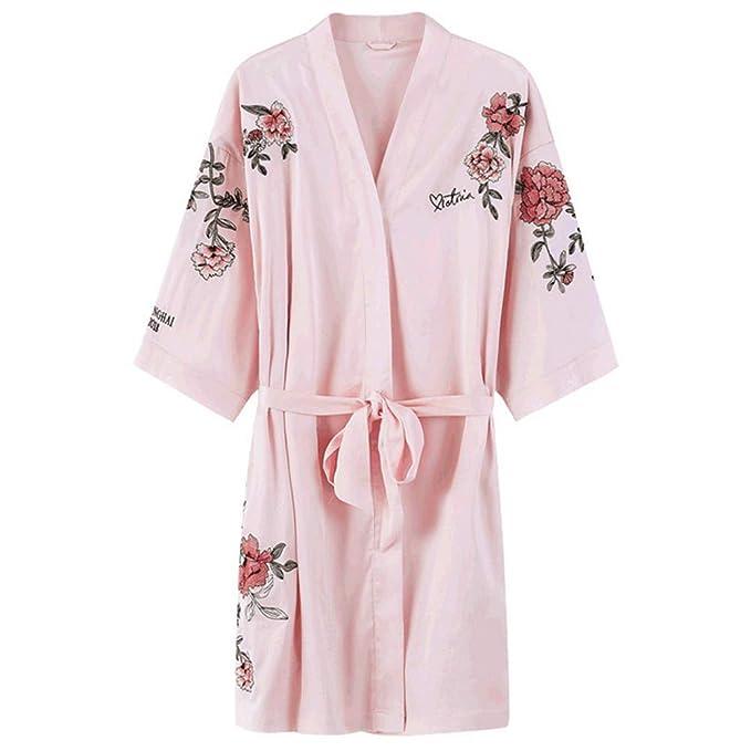 Wsxxnhh 2018 Modelos Europeos Y Americanos Robe Impresión Peonía Damas Pijamas Batas De Baño Y Vestidos