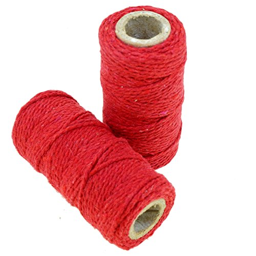 Green Color Natural Jute Twine for Gift Packaging / Craft / Sewing Project, Pack of 2 Rolls (Red) (Natural Jute Classic)
