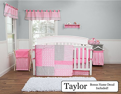 Trend Lab Baby Nursery Bedding Ensemble Set PLUS Personalized Name Decal, Lily, 6pc (Stripe 10 Piece Bedding Ensemble)