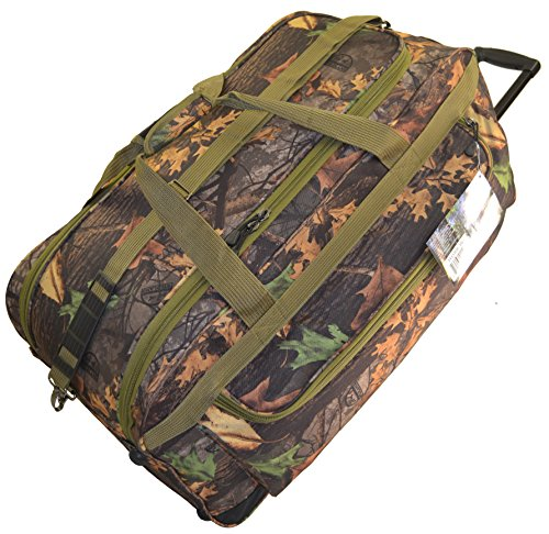 Explorer Hunting Luggage Travel Bag Mossy Oak -Realtree Outdoor Like- Hunting Camo Heavy Duty Rolling Duffel Bag with Pulling Handle Wheels with Adjustable Removable