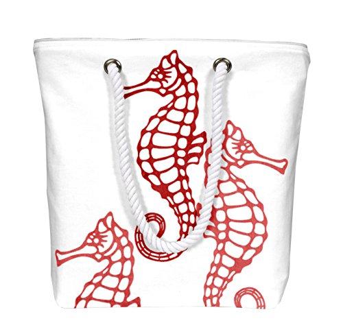 Peach Couture Nautical SeaHorse Bags Pure Cotton Canvas Bags Beach Bags Hobo bags Handbags Purses Tote Bags Picnic Bags Red