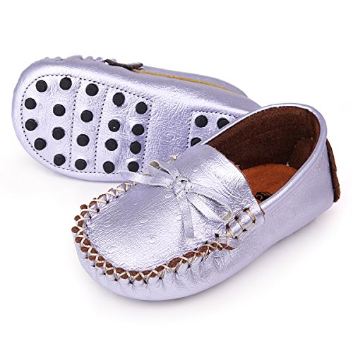 AUGUSTA BABY Leather Loafer Moccasins with Gommino Sole - Metallic Lavender Ostrich - US Toddler 7