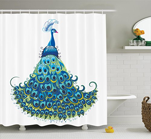 Peacock Shower Curtain Home Decor By Ambesonne, Peacock Illustration Floral Classical Curvy Artful Design Luxury Tropics Wild Life, Bathroom Accessories, 69W X 70L Inches