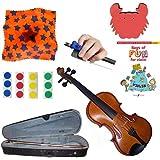 Childrens Violin Beginner Violin Pack 1/8 (4-6yr old) - with Beginner Violin Book, Finger Markers, Star Rosin, Crab shoulder Rest, Blue Hold Fish