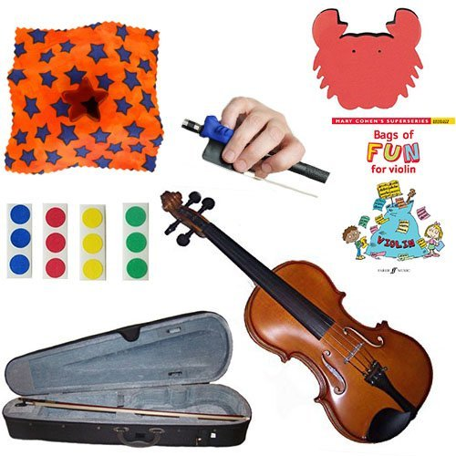 Childrens Violin Beginner Violin Pack 1/8 (4-6yr old) - with Beginner Violin Book, Finger Markers, Star Rosin, Crab shoulder Rest, Blue Hold Fish by Chidrens Violin Beginner Packs