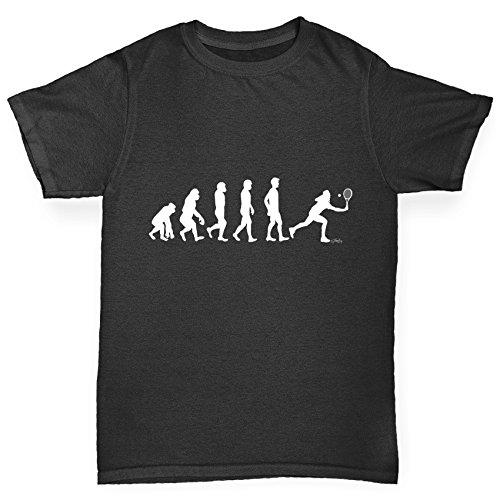 TWISTED ENVY Boy's Evolution of Tennis Black T-Shirt Age 9-11 -