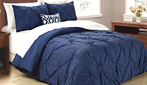 Cathay Home Oasis PinTuck Comforter Set, Full/Queen, Indigo