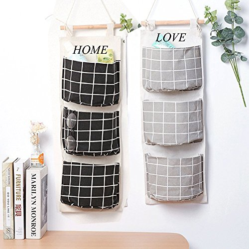 Wall Mounted 3 Bags Storage Bag Over the Door Storage Pockets Fabric Wall Door Closet Hanging Storage Bag Organizer 2 Packs for Room Toilet (Black+Grey) by HomRing