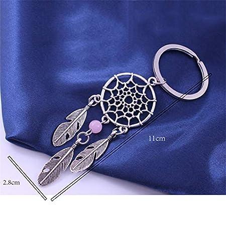 11 * 2.8cm Azul Regalo de San Valent/ín para Mujeres y ni/ñas Nowbetter Llavero Retro con dise/ño de atrapasue/ños y Hojas con Borla para Colgar en la Bolsa del Auto