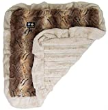 BESSIE AND BARNIE Simba/Natural Beauty (Ruffles) Luxury Ultra Plush Faux Fur Pet, Dog, Cat, Puppy Super Soft Reversible Blanket (Multiple Sizes)
