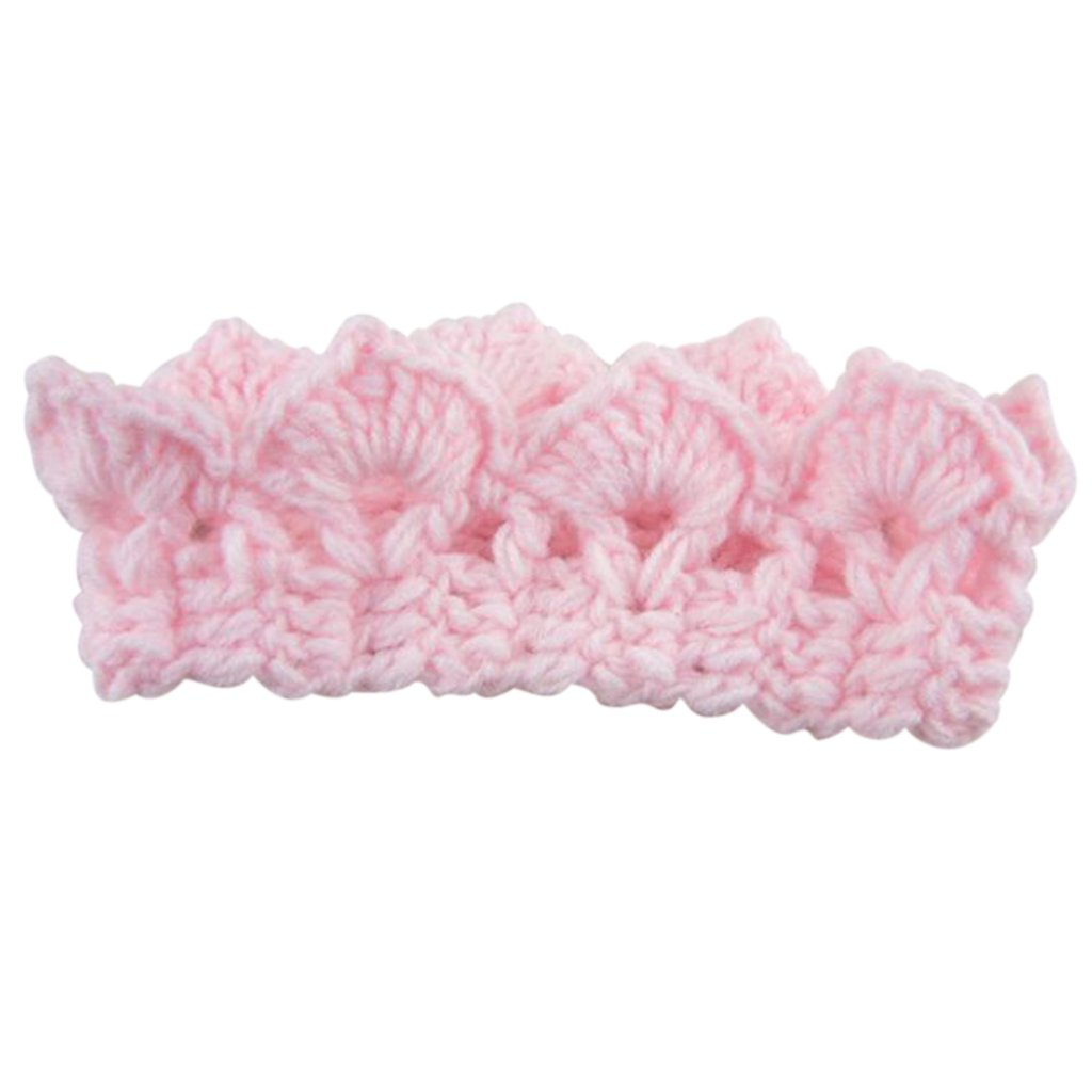 Jooks Cute Infant Baby Stretchy Warm Knit Crown Hat Handmade Newborn Crochet Knit Crown Hat Great Gift For Baby Light Pink