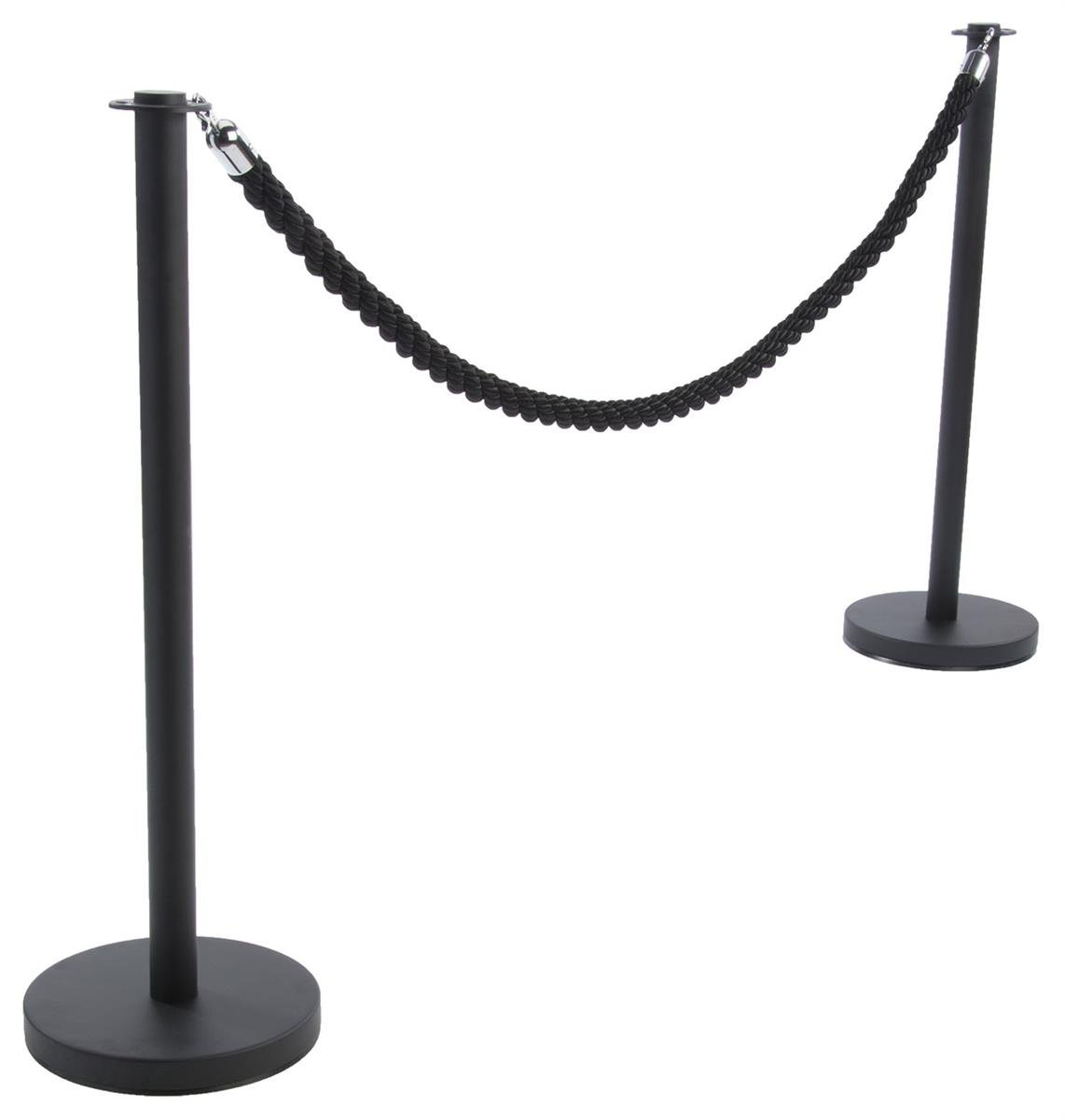 Crowd Control Rope Barrier (Black) - Two 39 Inch Metal Stanchion Posts; 78 Inch Nylon Rope, Chrome Hooks