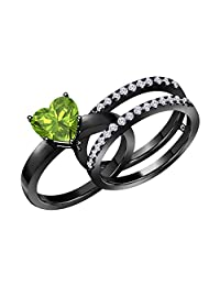 1.50 Ct Heart Shape Green Peridot & Simulated Diamond Enhancer Solitaire Engagement Ring 14k Black Gold Plated Guard Wrap Jacket