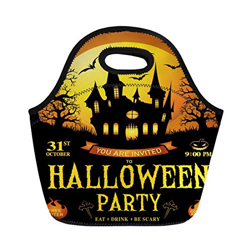 Semtomn Lunch Bags Black Halloween Trick Treat Happy Haunted House Party Pumpkins Neoprene Lunch Bag Lunchbox Tote Bag Portable Picnic Bag Cooler Bag -