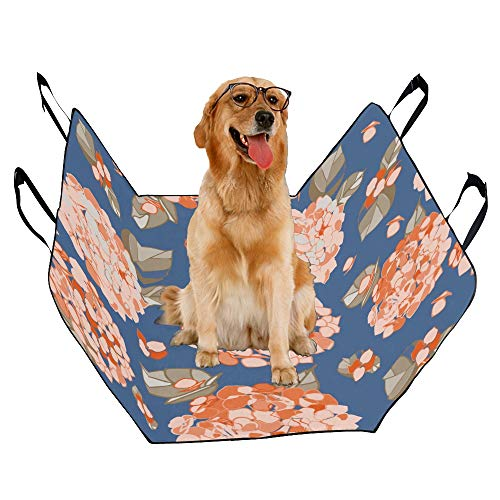 JTMOVING Fashion Oxford Pet Car Seat Hydrangea Hand Drawn Vintage Waterproof Nonslip Canine Pet Dog Bed Hammock Convertible for Cars Trucks SUV