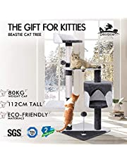 BEASTIE Cat Tree Scratching Post Scratcher Tower Condo House Furniture Wood 112 Grey and White