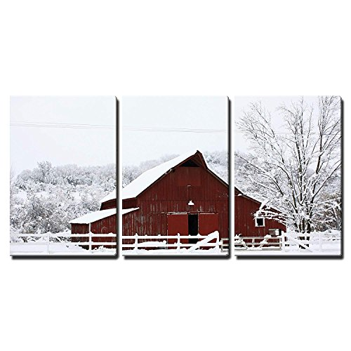 (wall26 - 3 Piece Canvas Wall Art - Big Red Barn in The Snow - Modern Home Decor Stretched and Framed Ready to Hang - 24