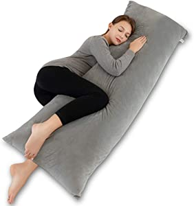 INSEN 55in Body Pillow-Full Body Pillow- Long Side Sleeping Body Pillow for Adult and Pregnancy-with Removable Body Pillow Cover (Velvet Gray)