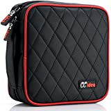 40 Capacity CD or DVD Case Holder Portable Wallet Disc Storage Binder Nylon CD Bag for Car, Home, Office and Travel Carrying Protector Organizer (Black)
