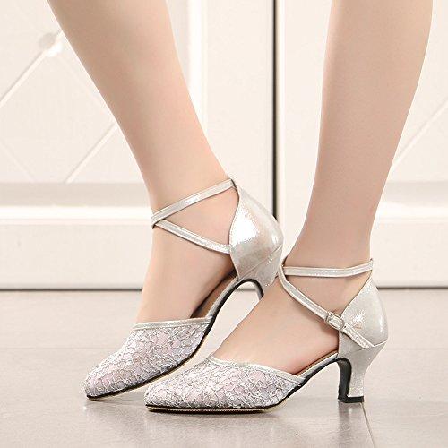 Spitze Salsa Ballsaal ZEVONDA Damen Geschlossen Silber Walzer Moderne Lateinische für Tanzschuhe Tango 5n0q6w0Z