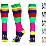 NEWZILL Swag Compression Socks (20-30mmHg) for Men & Women, Best Graduated Athletic Fit for Running, Nurses, Edema, Diabetic, Shin Splints, Flight Travel & Pregnancy (Swag Rainbow, Large)