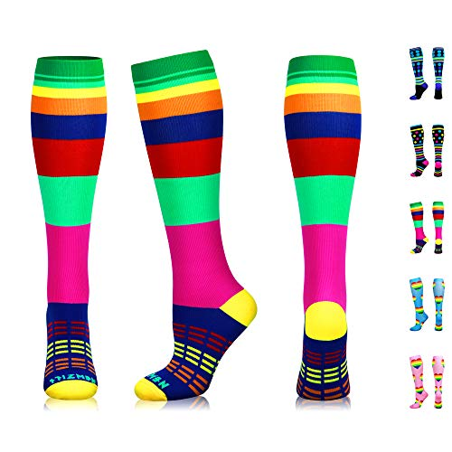 NEWZILL Swag Compression Socks (20-30mmHg) for Men & Women, Best Graduated Athletic Fit for Running, Nurses, Edema, Diabetic, Shin Splints, Flight Travel & Pregnancy (Swag Rainbow, Medium)
