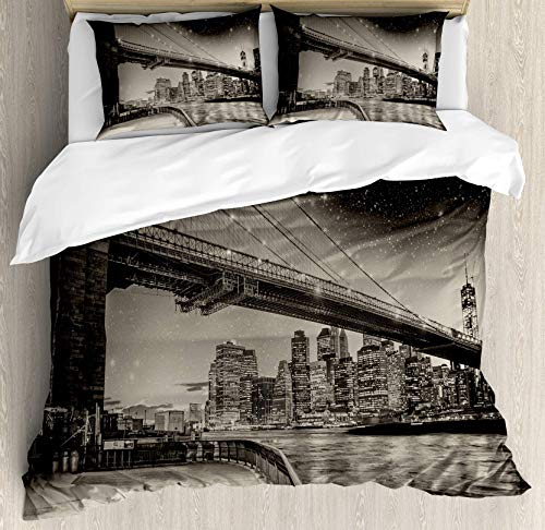 (USOPHIA New York 4 Pieces Bed Sheets Set Full Size, Summer Night in Manhattan Brooklyn Bridge Park River Waterfront Modern City Floral Duvet Cover Set, Dark Sepia Black)